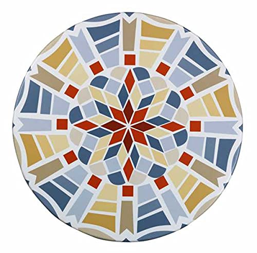 WENKO Spann-Tischdecke in Mosaikoptik - Spann-Tischtuch wetterbeständig für Küche, Esszimmer, Garten, Balkon oder Camping, Polyvinylchlorid, 70-86 x 70-86 cm, Mehrfarbig