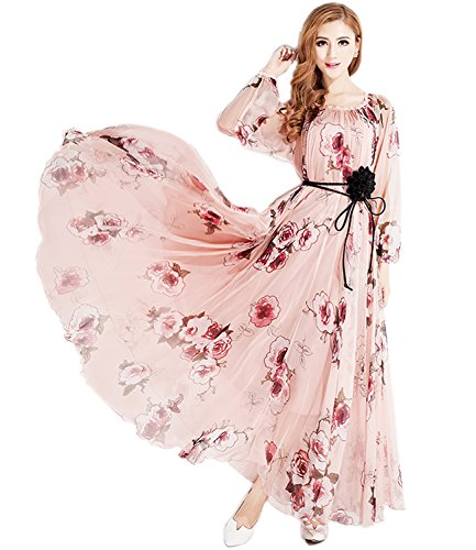 MedeShe Women's Chiffon Floral Holiday Beach Bridesmaid Maxi Dress Sundress (Small Petite, Pink Rose-Long Sleeve) (Apparel)