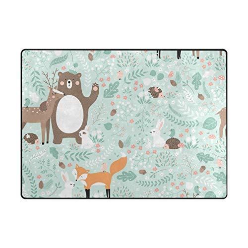 Orediy Weiche Teppiche Wald Tiere Blumen großer Schaumstoff leichter Bereich Kinder Spielmatte Rutschfest Yoga Kinderzimmer Teppich für Wohnzimmer Schlafzimmer, Schaumstoff, multi, 204 x 148 CM