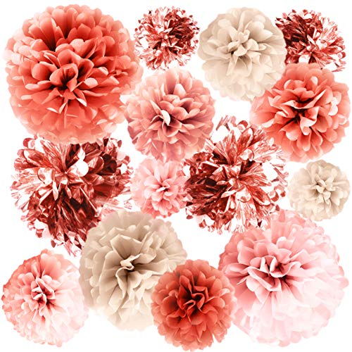 VINANT 20 PCS Rose Gold Party Decorations - Metallic Foil and Tissue Paper Pom Poms - Birthday Party Decoration - Baby Shower - Bridal Shower - Bachelorette - Garden Party - 14, 10, 8, 6