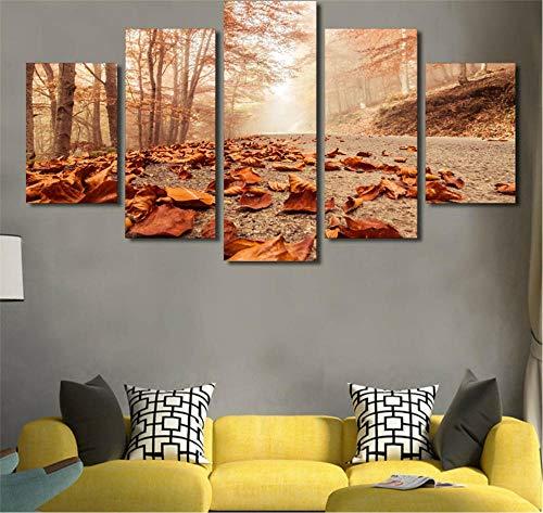 DKMDT Simplicidad Moderna de Cuadros Abstractos de Lienzo Cuadros modulares otoño Hojas de Bosque