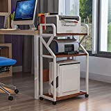 WBJLG Soporte para Impresora Oficina de 3 Pisos Estante de Impresora movible Mesa Lateral CPU Archivo de Libros Estante de Almacenamiento de escombros Estante de Impresora de Piso con polea móvil