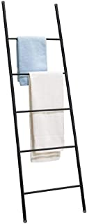 mDesign Metal Free Standing Bath Towel Bar Storage Ladder - Holds Towels, Blankets, Clothes and Magazines/Newspapers - 5 Levels - Matte Black