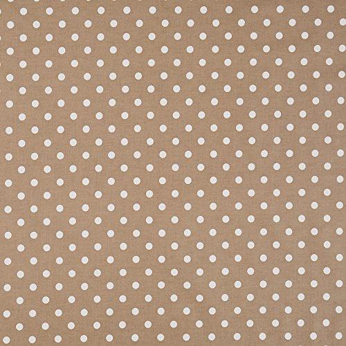 Vinylla Polka - tovaglia cerata con motivo a pois grigio talpa, in cotone rivestito in vinile, facile da pulire, Vinile Cotone, Beige, Round(Dia.140 cm)