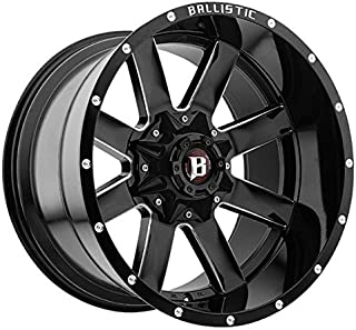 20X12 BALLISTIC 959 RAGE, Bolt Pattern: (6x135mm and 6x139.7mm) or (6x5.31in and 6x5.5in), Offset: (-44mm), Finish: Gloss Black Milled, CB: (106.1mm), MPN: (959212267-44GBX)
