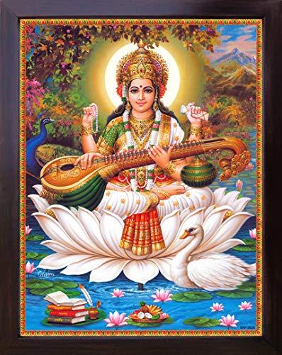 HandicraftStore Göttin Sarasvati mit Ihr Saraswati Vina und Schwan, sitzend auf Lotus Flower Göttin der Wissen und Weisheit, Poster Malen mit Rahmen