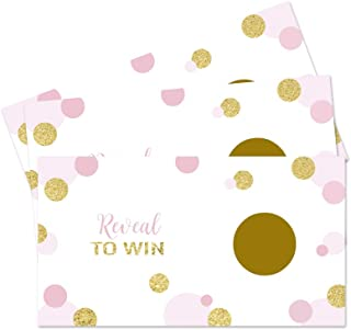 Pink and Gold Scratch Off Game Cards (28 pc.) Baby Shower Wedding Party Raffles