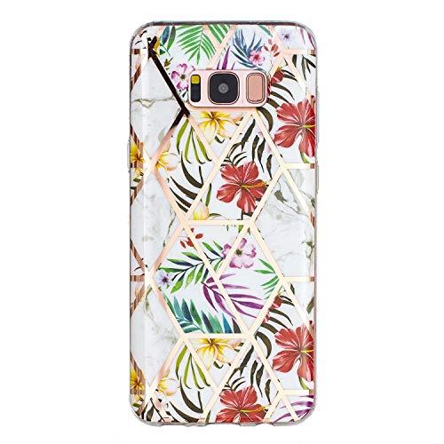 Miagon Marmor Hülle für Samsung Galaxy S8 Plus,Dünn Weich Silikon Flexible Handyhülle Schutzhülle Galvanisiert Marble Bumper Handytasche Zurück Cover Gummi,Blatt Blume