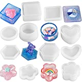 DIY Silicone Resin Mold 5 Shape Containers with Lid, Jewelry Container Box Holder Mold, Coaster, Flower Pot, Ashtray, Pen Candle Soap Holder