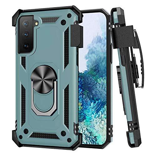 Compatible con Samsung Galaxy A32 4G Funda, Clip Trasero con Soporte para cinturón, protección contra caídas, antigolpes, Magnético, cubierta resistente a los arañazos, funda para A32 4G (verde)