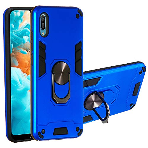 Huawei Y6 Pro 2019 Case, The Grafu 360° Rotation Ring Shockproof Cover with Magnetic Car Mount Holder, 2 in 1 Protective Bumper for Huawei Y6 Pro 2019, Blue 1