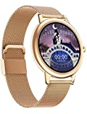 Reloj inteligente para mujer, reloj de seguimiento de actividad, de entrenamiento, con frecuencia cardíaca, monitor de sueño, tensiómetro, pantalla táctil completa y pulsera de malla fina