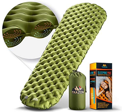 Camping Sleeping Pad - Mat, (Large), Ultralight Best Sleeping Pads for Backpacking, Hiking Air Mattress - Lightweight, Inflatable & Compact, Camp Sleep Pad