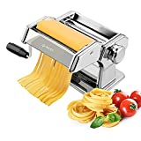 Pasta Machine, iSiLER 150 Roller Pasta Maker, 9 Adjustable Thickness Settings Noodles Maker with...