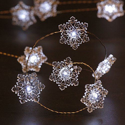 IMPRESS LIFE Christmas Snowflake String Lights Decorations, Silver Wire 10 ft 40 Cold White LEDs with Remote for Indoor Covered Outdoor, Wedding, Birthday, Bedroom, DIY Home Parties Ornaments Lighting