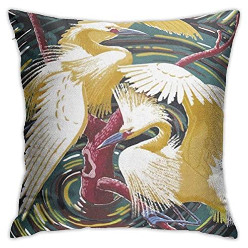 Juego de fundas de almohada cuadradas decorativas suaves y decorativas, diseño de garzas, color acuarela y garzas, 45,7 x 45,7 cm