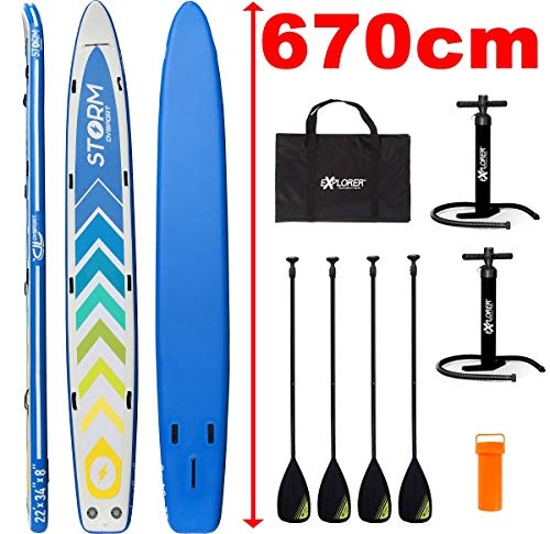 EXPLORER SUP Race Board Stand Up Paddle Surf-Board Dragon aufblasbar Paddel ISUP 670 cm