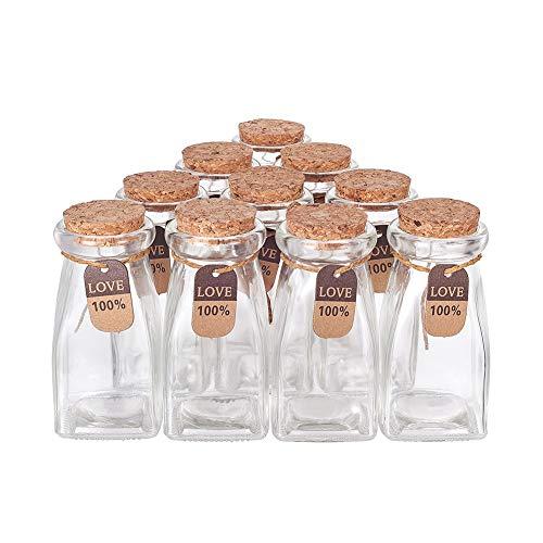 BENECREAT 10 Pack 100ml Botella de Vidrio con Corcho Cuerda de Cáñamo y Etiqueta de Cartón Botella Portátil con Fondo Rectángulo de Cristal para Almacenamiento de Dulce Cuentas Chocolate