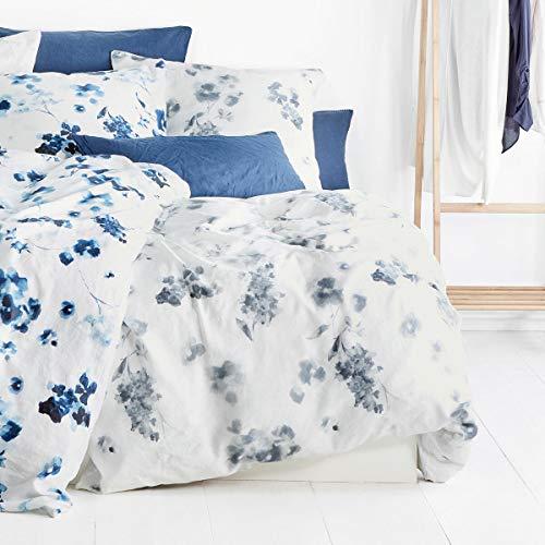 fleuresse Halbleinen Bettwäsche Provence Cassis Aquarellblüten Grey 1 Bettbezug 155 x 220 cm + 1 Kissenbezug 80 x 80 cm