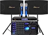 Combo IDOlpro 6000W Mixing Amplifier W/Bluetooth, Optical Input/HDMI, Equalizer, Recording and 1500W 12' 3 Way Speakers Free Speaker Cables & Stands