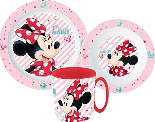 Minnie - Juego de vajilla infantil con plato, cuenco para cereales y taza