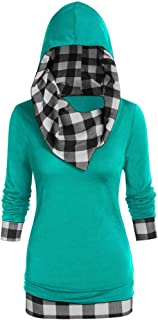 Women's Button Hoodie Sweatshirt Tunic Dress Pullover Cowl Neck Plaid Drawstring Tops(S-5XL)
