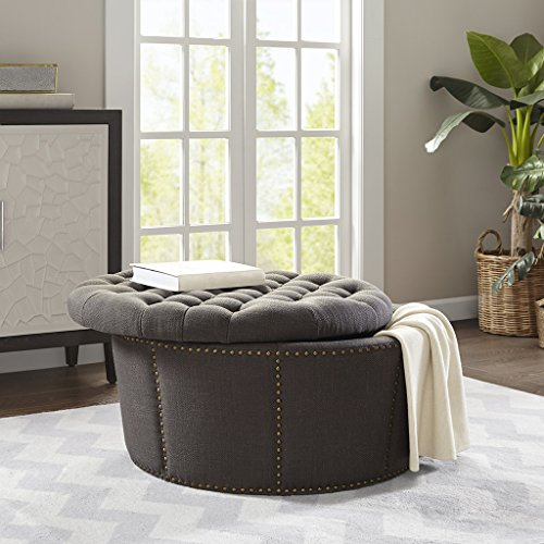 Madison Park Derek Coffee Table - Solid Wood, Polyester Fabric Toy Chest Bench Modern Style Ottoman With Storage, Charcoal