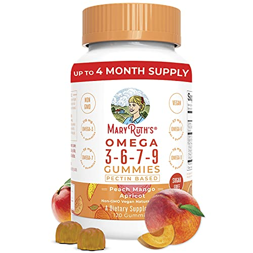 Omega 3, 6, 7, 9 Vegan Gummies by MaryRuth's, Non-GMO, Gluten Free for Adults & Kids, NO Fish, NO Krill, Sugar Free, Peach Mango Apricot, 4 Month Supply (120 Gummies)