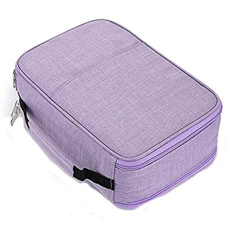 Estuche de lona, 100 ranuras para lápices de colores, con soporte para rollo de rollo, bolsa multiusos para arte escolar, soporte de viaje suave (color morado)