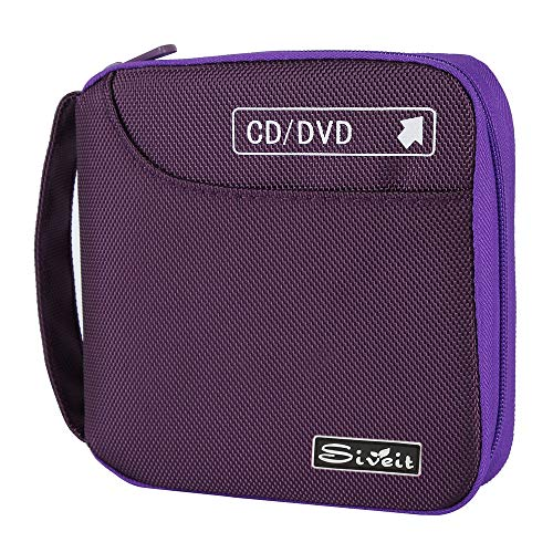 Siveit CD Case, 32 Disc CD DVD Wallet Storage Organizer Holder VCD Binder Bag Album Booklet (Purple)