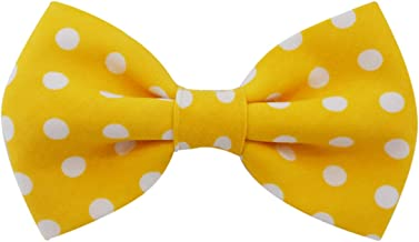 Mustard Polka Dot - Dog Cat Pet Bow Tie Bowtie Collar Accessory for Large Dogs Handcrafted Bow Tie
