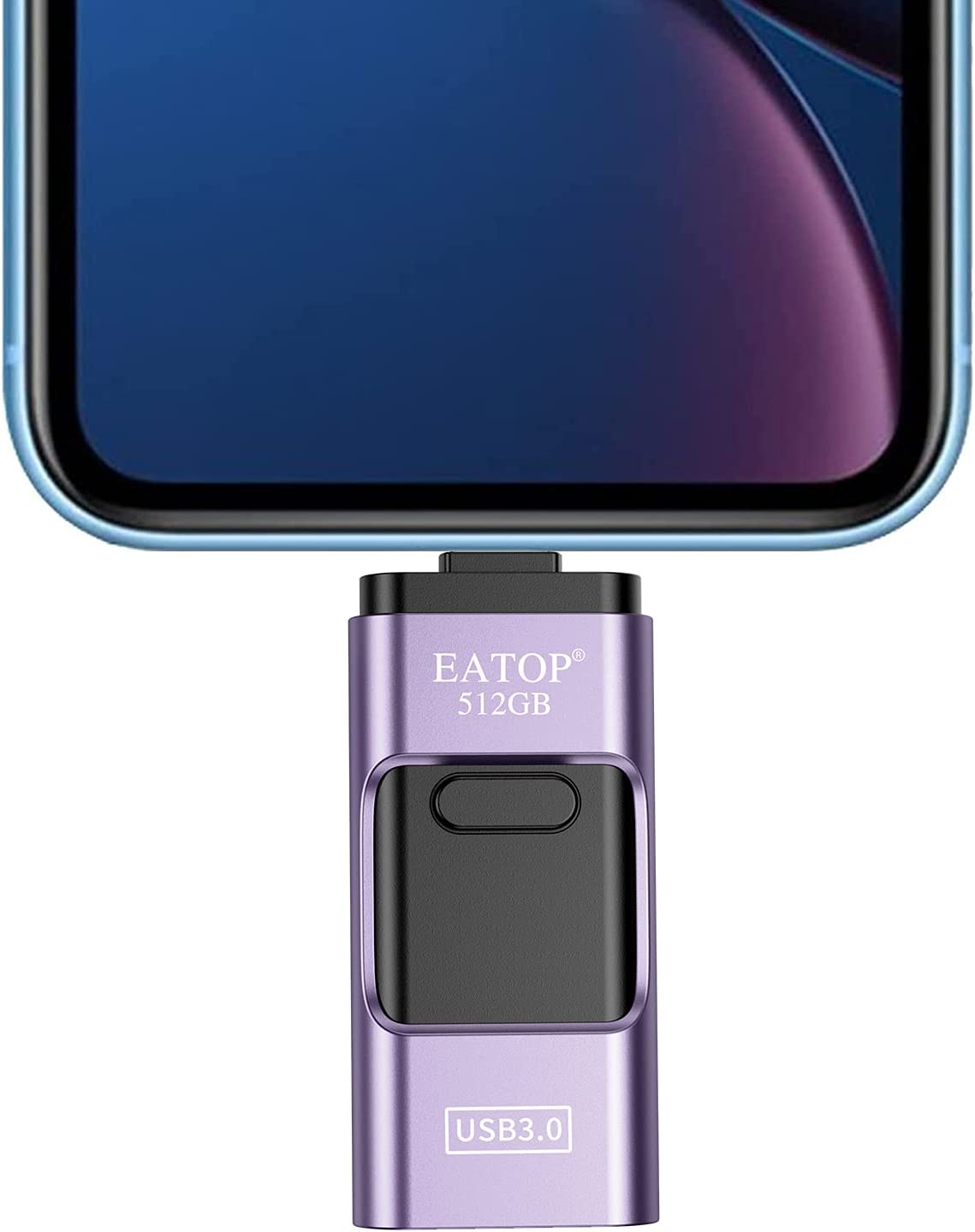 EATOP USB Flash Drive 512GB Storage for Photos, USB Memory Stick Thumb Drive Photo Storage Device Compatible with iPhone, Android and Computers (Purple)