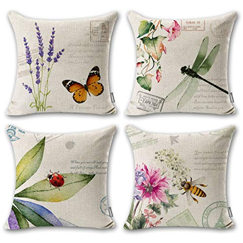Onway Outdoor Garden Decoration Bee / Butterfly / Dragonfly / Ladybug Pillow Case Leaf / Lavender / Flower Decorative Throw Pillow Covers 18 x 18 Inches, Set of 4