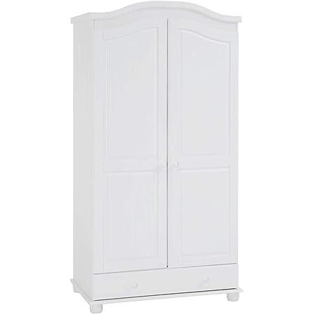 IDIMEX Armoire Bergen Dressing pour vêtements avec 2 Portes battantes penderie 1 Tringle et Rangement 1 étagère intérieure et 1 Grand tiroir, en pin Massif lasuré Blanc