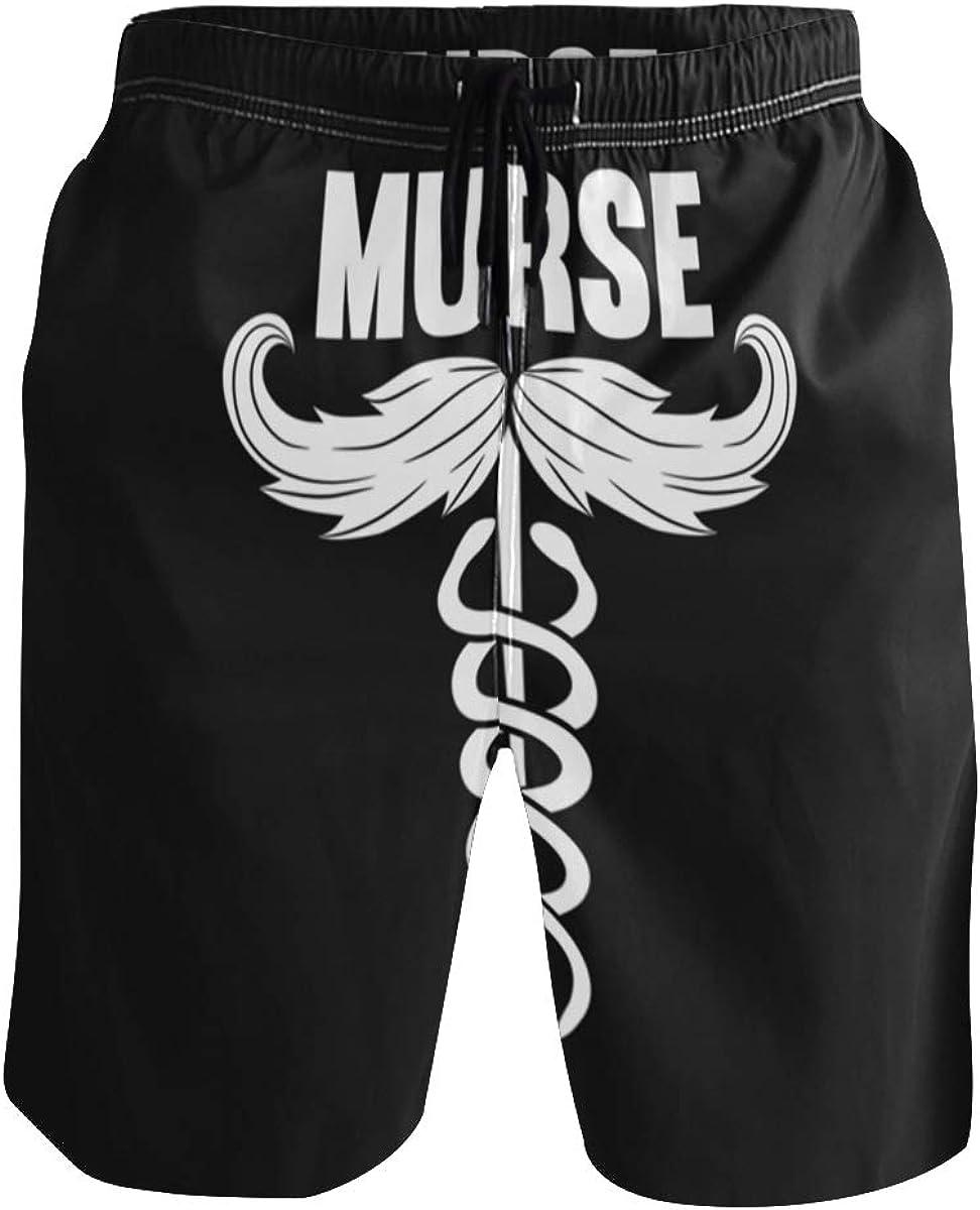 WangH Swim Trunks with Murse Male RN Print, Beach Short Beachwear for Men Boys S
