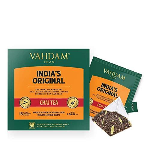 Bustine di tè originali Masala Chai dell'India, 15 bustine di tè (PACCHETTO DI 2), SPEZIE NATURALI 100% - Mescolato confezionato in India, tè nero, cardamomo, cannella, pepe nero e chiodi di garofano