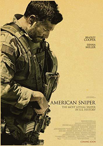 H/F American Sniper Bradley Cooper Movie Retro Canvas Poster DIY Nordic Style Home Living Room HD Art Deco Pintura Al Óleo Mural Sin Marco50X60Cm 4939L