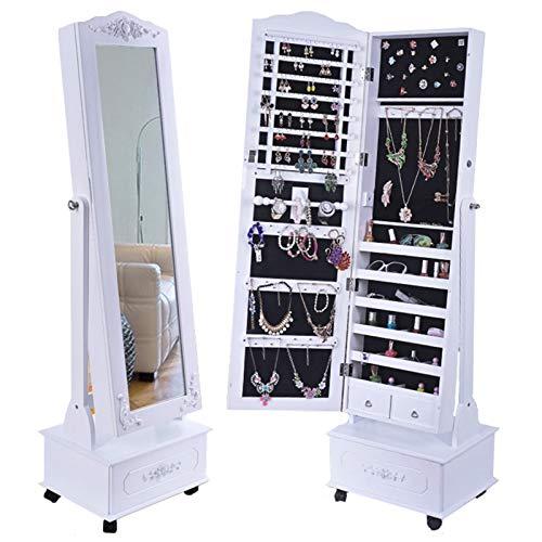 LLGHT Gabinete de Joyería, Soporte de Almacenamiento Ancho con Espejo, Organizador de Joyas con Ganchos, Gabinete de Espejo de Joyería de Dormitorio de Cuatro Ruedas, Maquillaje, Bloqueable