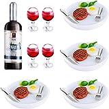 Set de 33 Bebidas Comida en Miniatura de Casa de Muñecas Mini Botellas de Vino Copas de Vino en Miniatura Platos en Miniatura Mini Tenedor de Cuchillo Filete Huevos Vegetal para Decoración