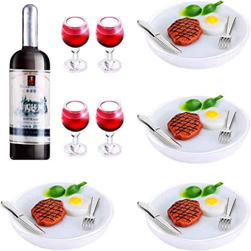 33 Pezzi Set di Bevande Alimentari in Miniatura per Casa delle Bambole Mini Bottiglie di Vino Bicchieri da Vino Piatti Coltello Forchetta Bistecca Uova Verdura in Miniatura per Mini Cucina