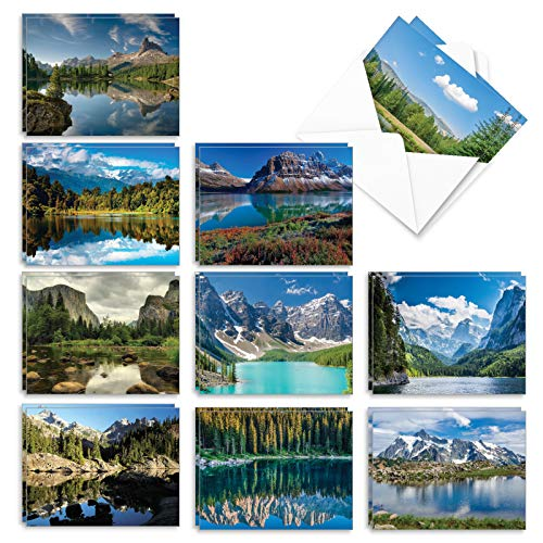 The Best Card Company - 20 Landscape Nature Note Cards Blank (4 x 5.12 Inch) (10 Designs, 2 Each) - Reflections AM1728OCB-B2x10