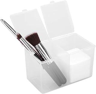 Cotton Pad Holder, 2 Grids Cotton Swabs Makeup Container Nail Polish Glitter Powder Organizer Storage Box for Gauze Cotton...