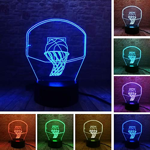Nndxh 3D Led Basketball De Tir Créatif 7 Variations De Couleur De La Lampe De Stand De Lumière De Nuit Décorant Des Cadeaux Pour Hommes De L'Amour Du Sommeil