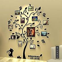 Asvert 3D Pegatina de Árbol Vinilos Hojas Negros 132 * 160 cm con 11 pcs Marcos de Foto Adhesivo Decorativo de Pared para ...