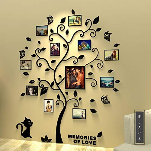 Alicemall 3D Wall Stickers Family Tree Decal Easy to Install &Apply DIY Decor Sticker Home Decor (Large, Black)