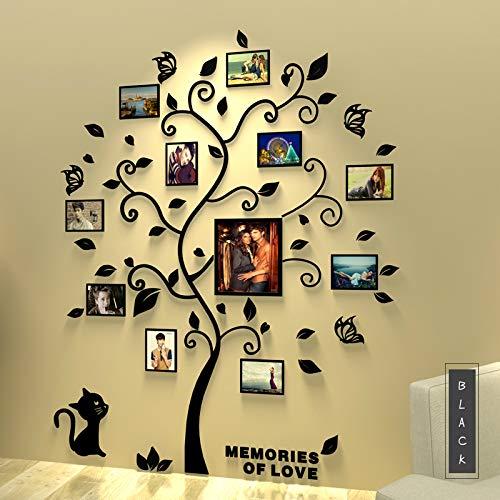 Asvert 3D Pegatina de Árbol Vinilos Hojas Negros 132 * 160 cm con 11 pcs Marcos de Foto Adhesivo Decorativo de Pared para Dormitorio Hogar Oficina