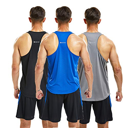 ZENGVEE Mens 3 Pack Gym Tank Tops Y-Back Muscle Tank Fitness Training Sleeveless T-Shirts for Running,Workout