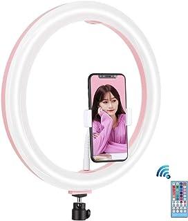 PULUZ Ringlicht, 30,5 cm, dimmbar, RGB O Ringlicht mit Kaltschuh Stativ, Kugelkopf & Telefonklemme und Fernbedienung für Make up, YouTube Video, Desktop LED Ringlicht, Selfie Lichtring für Smartphone