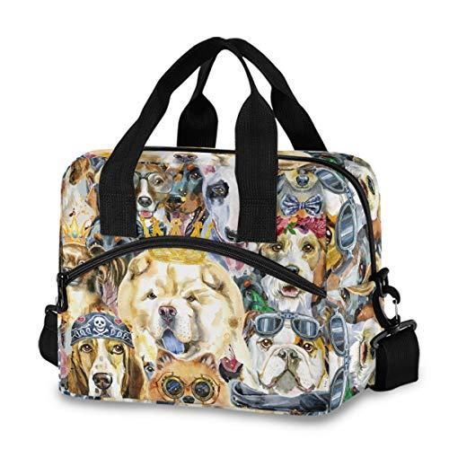Bolsa de almuerzo aislada reutilizable refrigerante – varios acuarelas lindo perros pug Husky Corgi fiambrera ajustable correa de hombro para escuela, oficina, picnic, adultos, hombres y mujeres