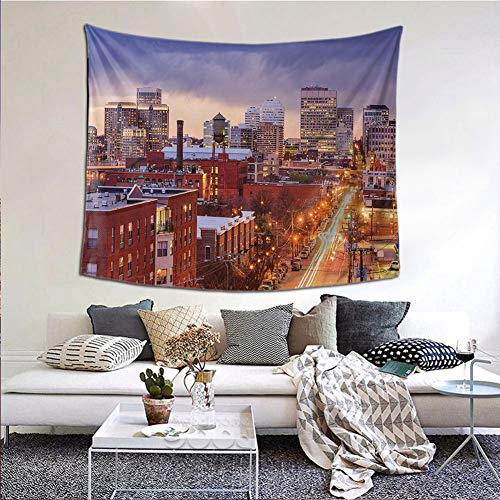 JKTOWN United States Tapestry Wall Hanging Tapestries Tapestry with Art Nature 60x90 inch Richmond Virginia Highway Office Buildings Downtown at Dusk Urban Lifestyle Multicolor